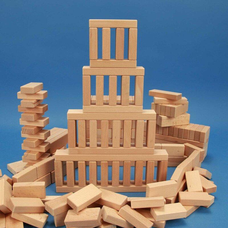 Unsere Empfehlung: Set aus 200 flachen Bauklötzen Grundmaß 3 x 1,5 cm