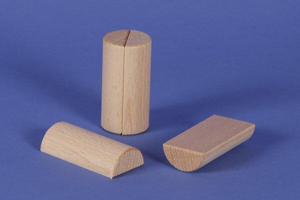 houten columns half Ø 3 x 6 cm
