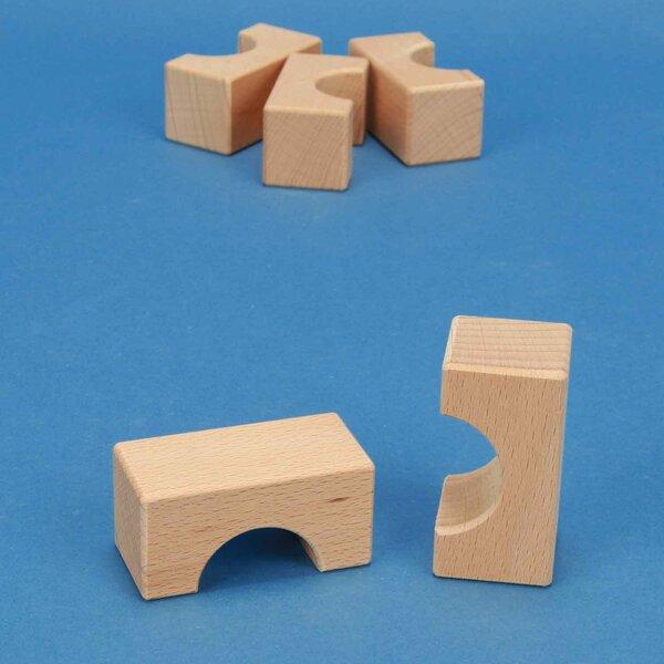 cubes en bois demi-percés 6 x 3 x 3 cm - 3 cm percés