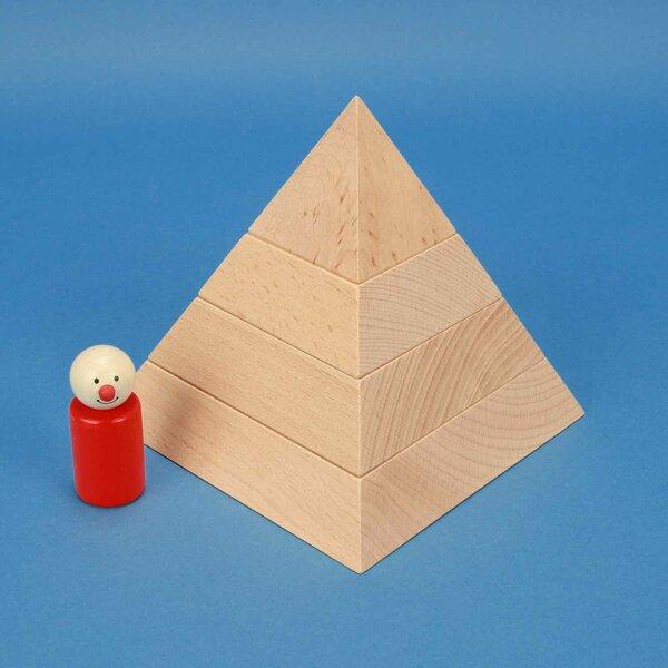 grote vierkante piramide van beukenhout 15 x 15 x 15 cm