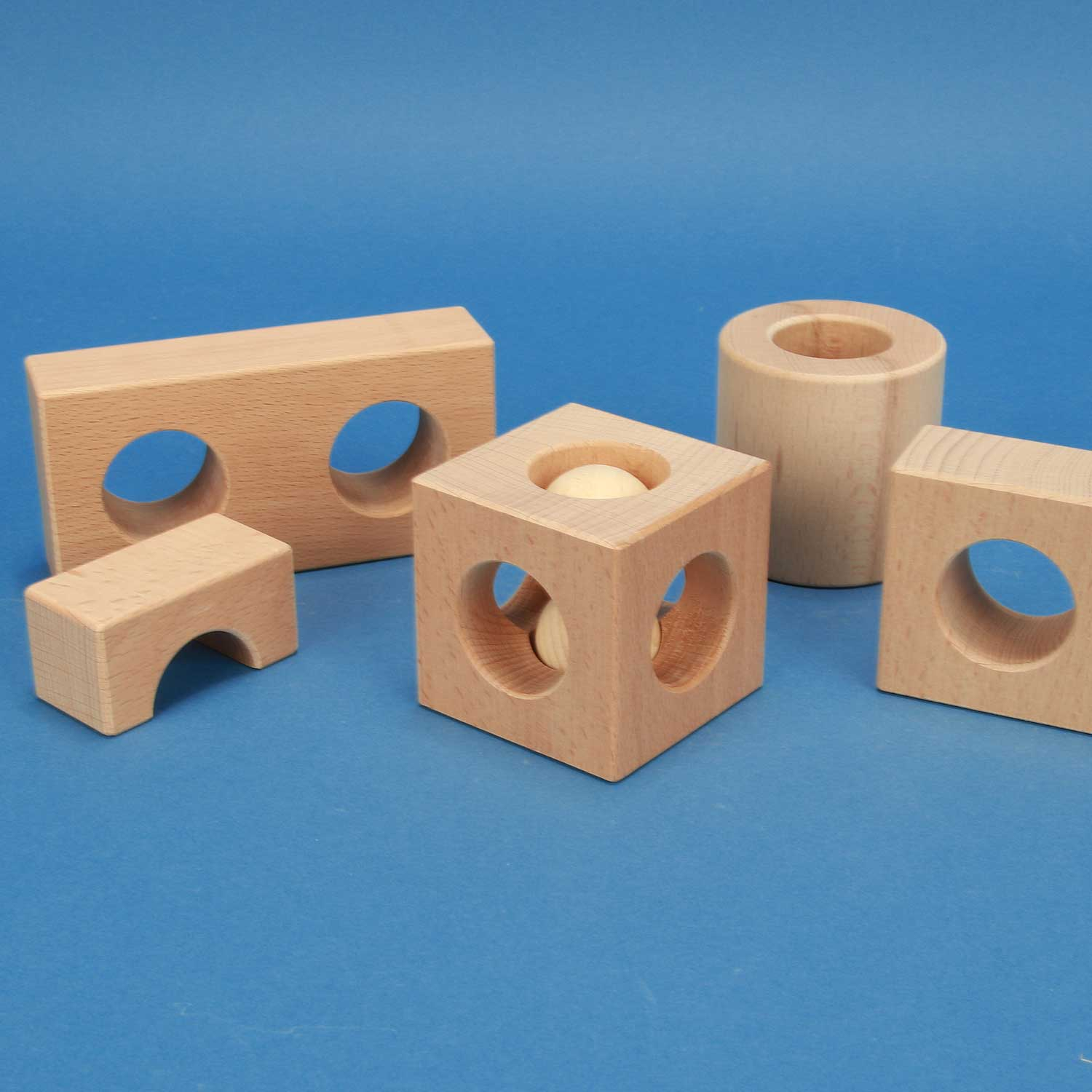 Learning with drilled wooden blocks