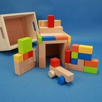 Holzbausteine-Set 50 natur und bunt mit Auto in der Buchenkiste