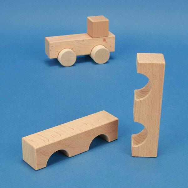 cubes en bois demi-percés 12 x 3 x 3 cm - 3 cm percés