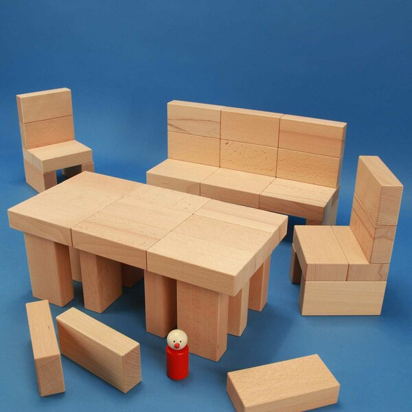 Wooden blocks set « Fröbel-Special 85 »in a large beechwood box