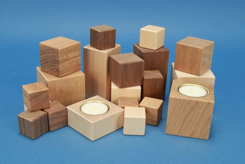 Wooden blocks made of maple, walnut and oak