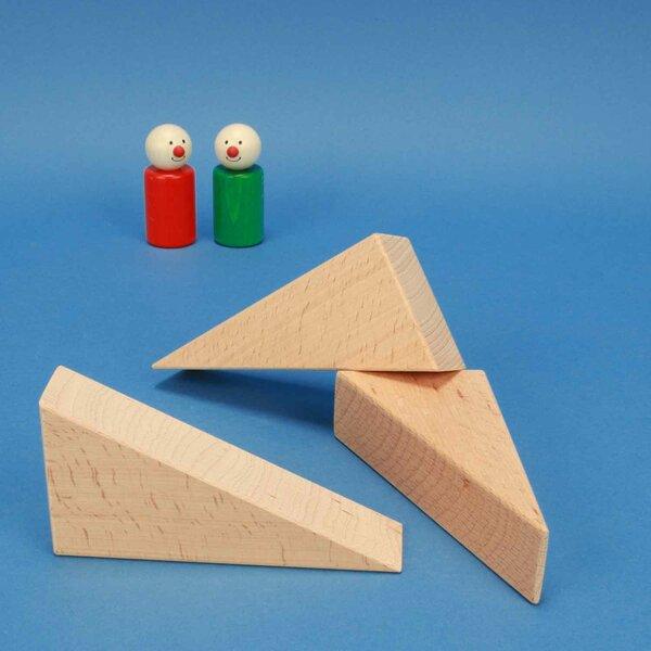 Houten blokken driehoekig 12 x 6 x 3 cm