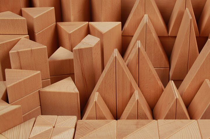 wooden blocks triangular