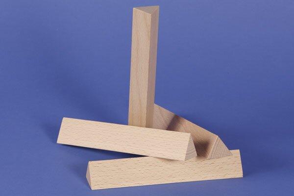 wooden triangular pillar 3 x 3 x 18 cm