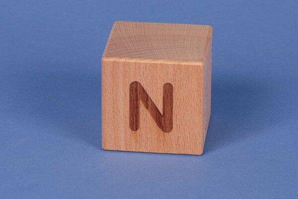 Buchstabenwürfel N positiv