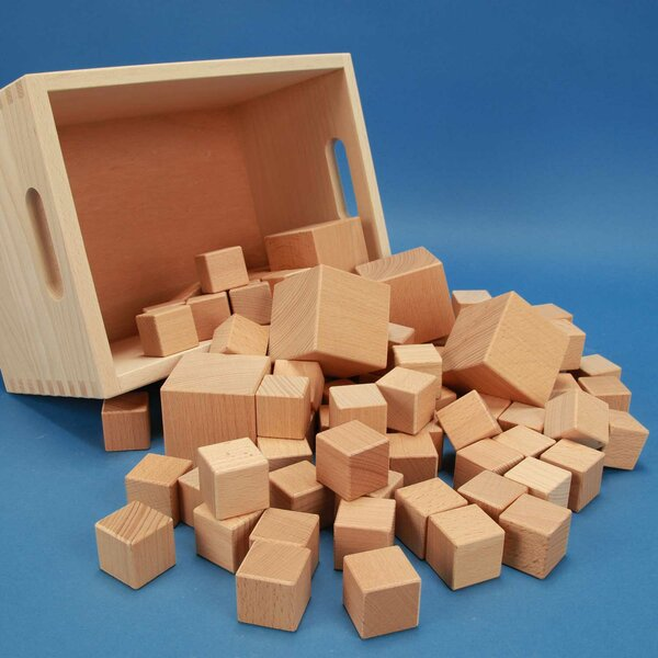 Box-set van 85 houten kubusblokken+ lasermarkering