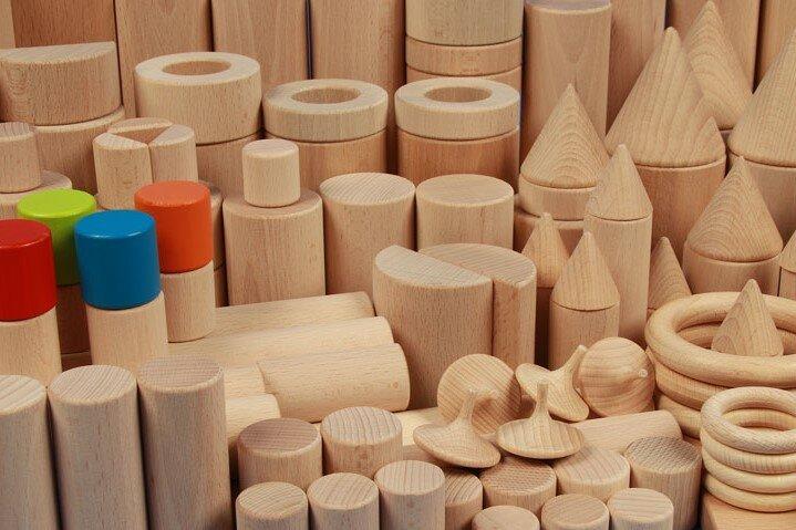 Runde Holzbausteine