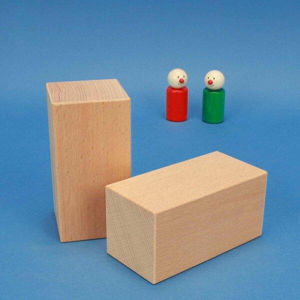 Solides géométriques blocs en bois grands 12 x 6 x 6 cm