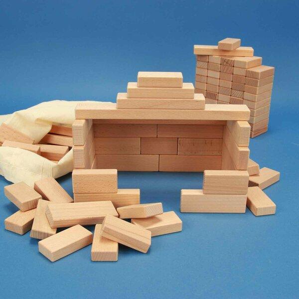 Set aus 100 flachen Bauklötzen Grundmaß 3 x 1,5 cm