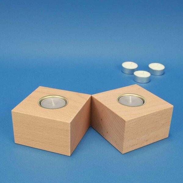 Bougeoir en bois 9,5 cm cubes en Hêtre