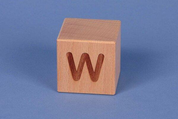 Buchstabenwürfel W positiv
