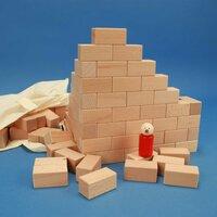 100 Holzbauklötze der Größe 6 x 3 x 3 cm