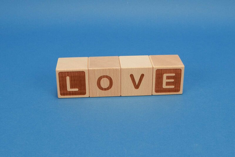Wooden cubes with requested texts