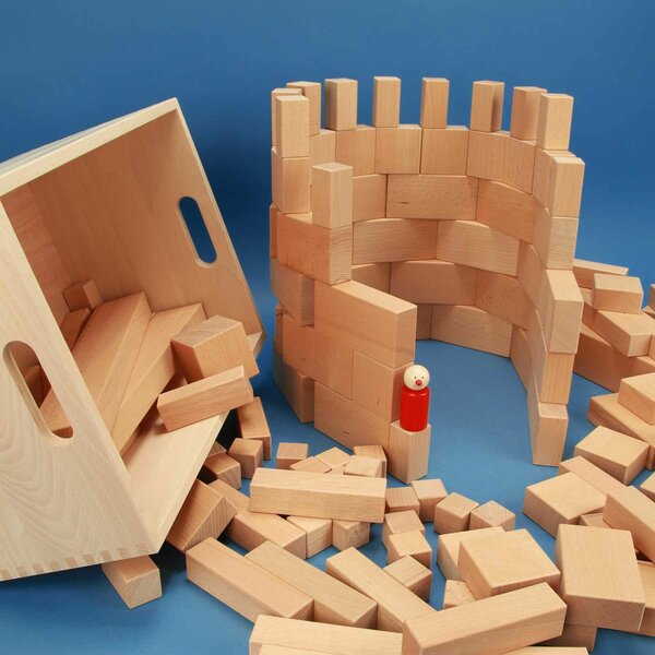 wooden blocks set 140 in beechwood-box with laserengraving
