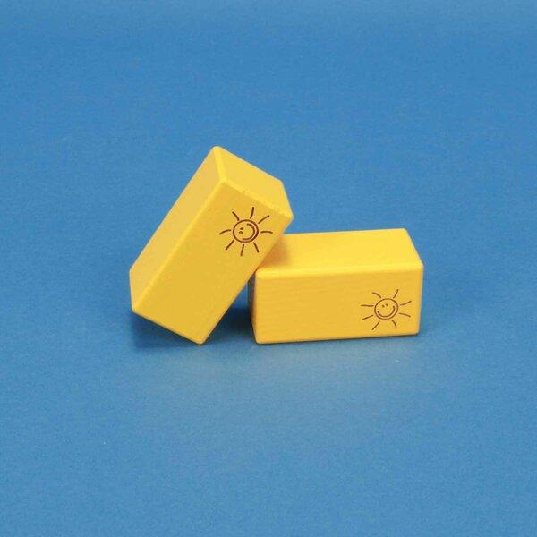 wooden blocks SMILE yellow 6 x 6 x 3 cm