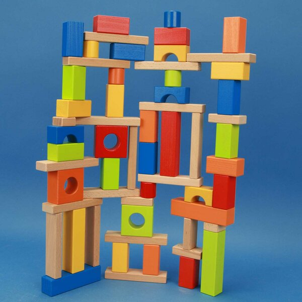 Set of colorful wooden building blocks