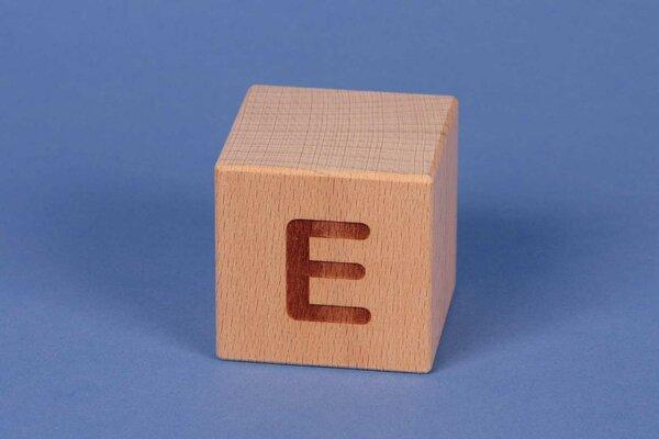 Letter cubes E positive