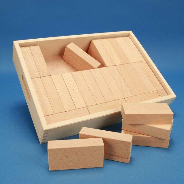 Jouet de cubes en bois « Fröbel-Spécial 29 » dans une caisse