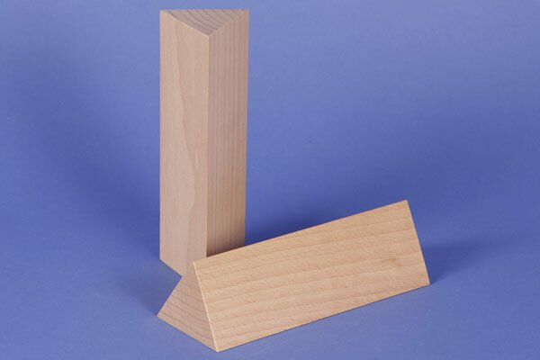 wooden triangular pillar 6 x 6 x 12 cm rectangular