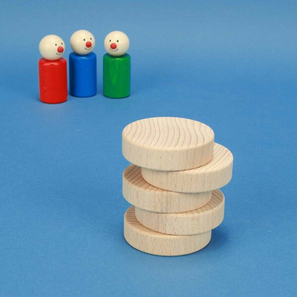 cubes en bois rond Ø 6 x 1,5 cm